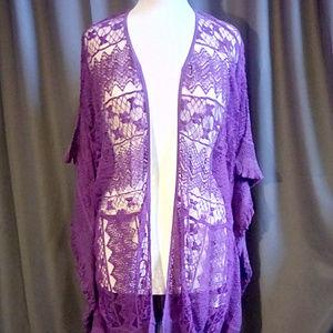 Curations Caravan Purple cotton lace jacket sz 1X